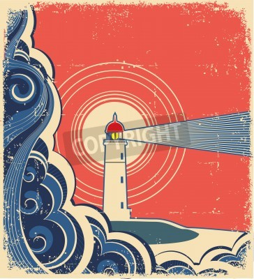 Sticker Lighthouse with blue sea.