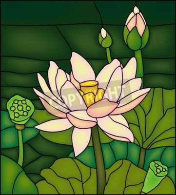Sticker Lily in the pond, stained glass winow