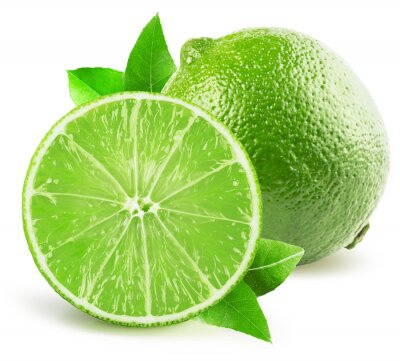 Sticker lime with half of lime isolated on the white background