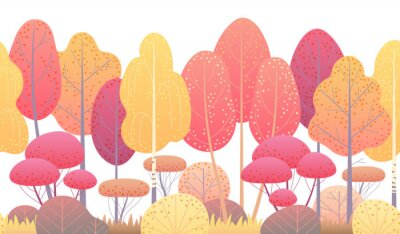 Sticker Line Horizontal Seamless Border with Autumn Trees and Bushes