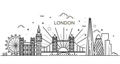 Sticker Linear banner of London city.