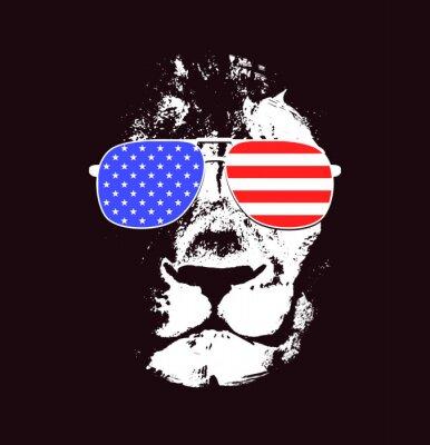 Sticker Lion head. Vector background. Poster