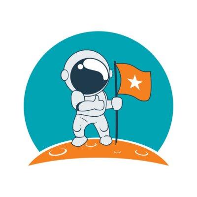 Sticker Little Astronaut Success on Moon Mission Cartoon