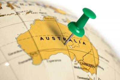 Sticker Location Australia. Green pin on the map.