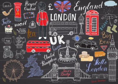 Sticker London city doodles elements collection. Hand drawn set with, tower bridge, crown, big ben, royal guard, red bus, UK map and flag, tea pot, lettering, vector illustration on chalkboard