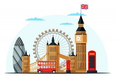 Sticker London cityscape flat vector color illustration