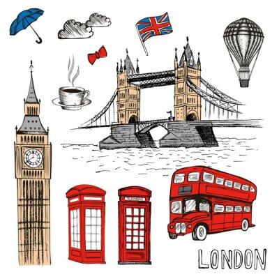 Sticker London Doodles. Vector hand drawn illustration with London symbols