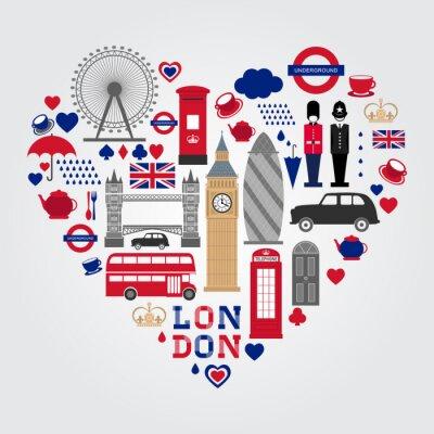 Sticker London Hearth Symbols Set. UK icon collection.