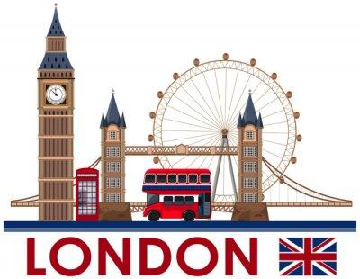 Sticker London Landmark on White Background