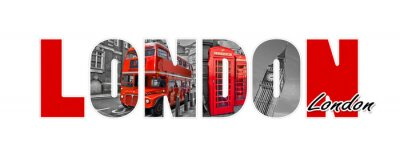Sticker London letters, isolated on white background, travel and tourism in UK concept