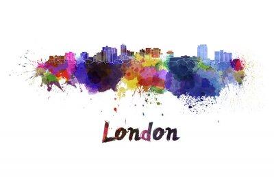 Sticker London skyline in watercolor