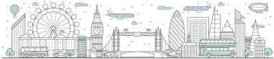 Sticker London skyline. Line cityscape with building landmarks horizontal panorama. London skyline with Big Ben, Tower Bridge street city sights. Capital city constructions outline, architecture concept