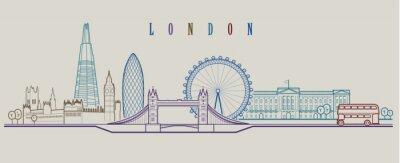 Sticker London skyline. Vector background. Outline graphic illustration.