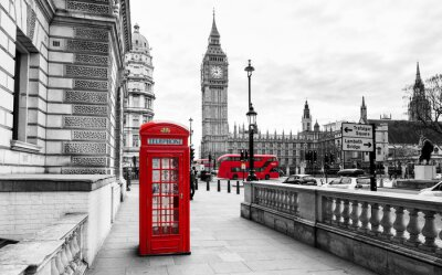 Sticker London Telephone Booth and Big Ben