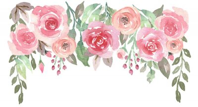 Sticker Loose Watercolor Floral Drop with Roses