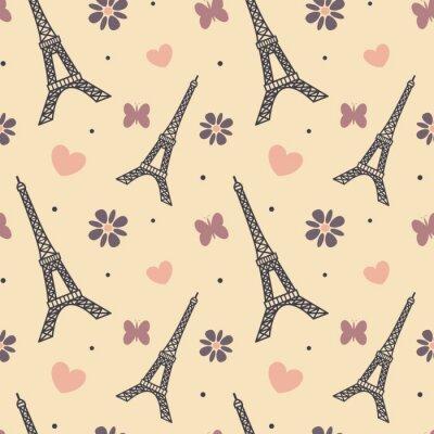 Sticker lovely soft eiffel tower seamless vector pattern background illustration
