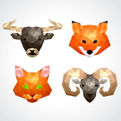 Sticker Low poly animals bull fox cat ram vector set