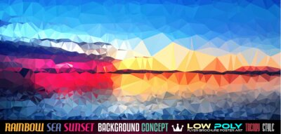 Sticker Low Poly tSea Sunset Art background for your polygonal flyer