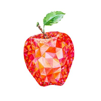 Sticker Low poly watercolor apple