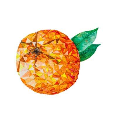 Sticker Low poly watercolor orange