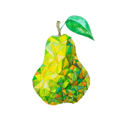 Sticker Low poly watercolor pear
