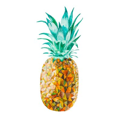 Sticker Low poly watercolor pineapple
