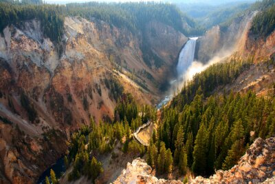 Sticker Lower Falls - Sunlight illuminates the spray as the Yellowstone River crashes over the Lower Falls in Yellowstone's Grand Canyon.