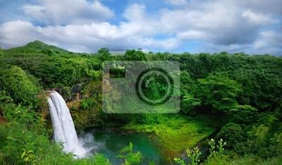 Lush Green Landscape Waterfall on the Hawaiian Islands