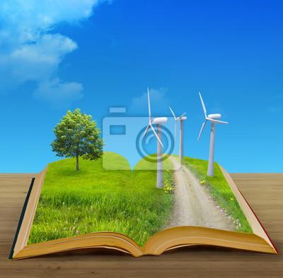magic book and eco concept