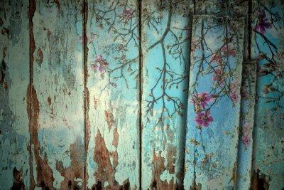 Sticker Magnolia in spring old background