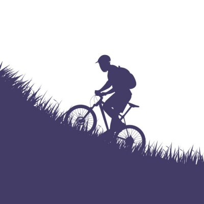 Sticker man on bicycle silhouette