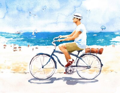 Sticker Man On Bike Summer Beach Scene Watercolor Illustration Hand Painted