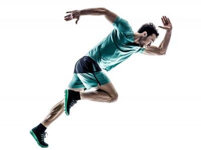 Sticker man runner jogger running  isolated