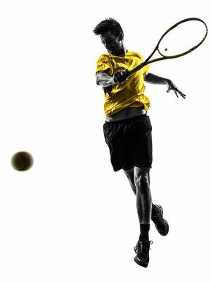 Sticker man tennis player silhouette