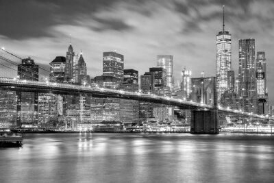 Sticker Manhattan and Brooklyn Bridge black and white, New York