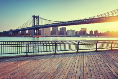 Sticker Manhattan Bridge Over East River at Sunset