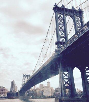 Sticker Manhattan bridge over the river in vintage style, New York
