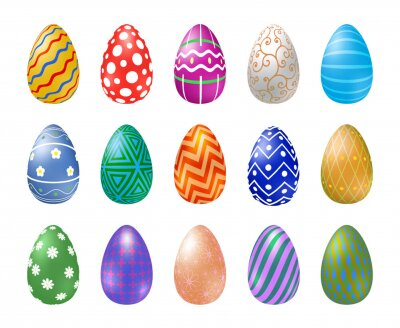 Many Easter eggs with different texture on a white background. Happy easter eggs. Spring holiday. Vector Illustration, EPS 10.