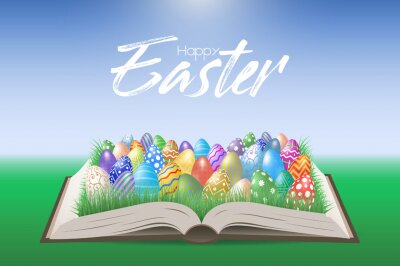 Many various Easter eggs on a pages of Bible, Holy book. Vector Illustration, EPS 10.