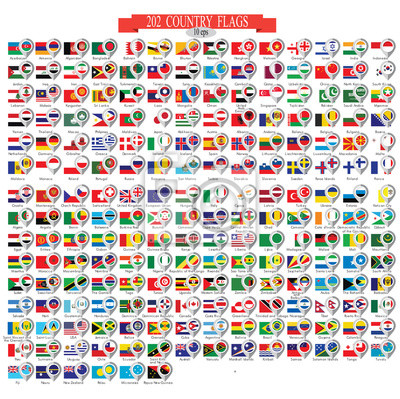 Sticker Map marker with flags. Vector illustration 10eps.