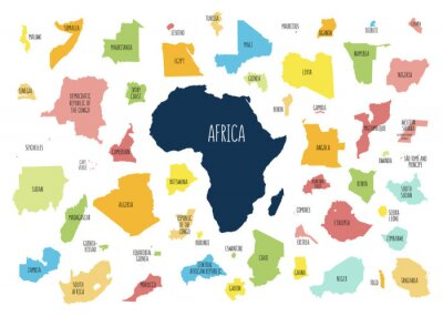 Sticker Map of Africa with separated countries.