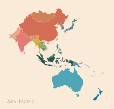 Sticker Map of Asia Pacific