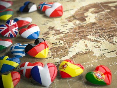 Sticker Map of Europe and hearts with flags of european countries. Trave