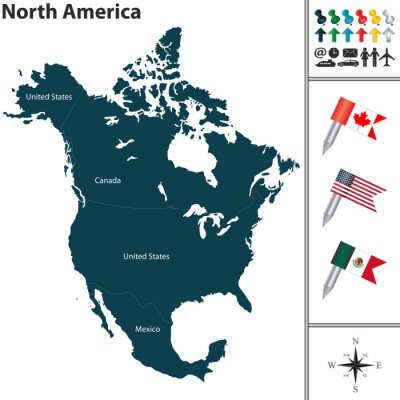 Sticker Map of North America