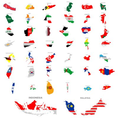 Sticker maps of country in continent asia icon set vector design symbol