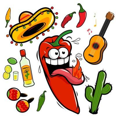 Sticker Mariachi chili pepper Mexican icon collection.
