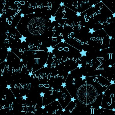 Sticker Mathematical astrophysical vector seamless pattern with formulas, figures and calculations handwritten on the background of stars. Scientific space endless texture