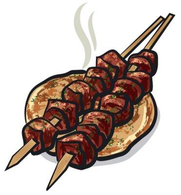 Sticker meat kebab