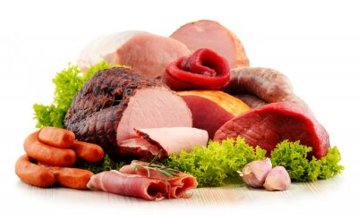 Sticker Meat products including ham and sausages isolated on white