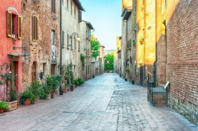 Sticker Medieval street view in Certaldo, Italy.